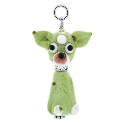 Lampwork Glass Chihuahua Puppy 925 Sterling Silver Charm Pendant #GP063