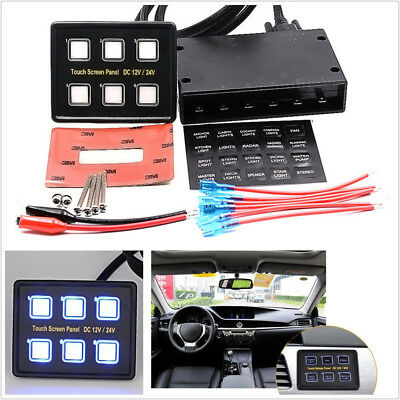 Car Off-Road DC12/24V 6-Gang Capacitive Touch Screen LED Switch Panel Universal