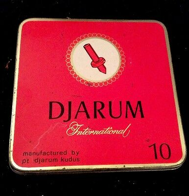 Vintage Djarum International Empty Red Tobacco Tin Indonesia
