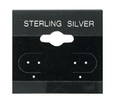 100 Black Sterling Silver Earring Hang Cards 1 x 1