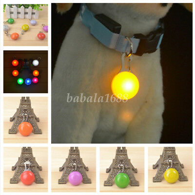 Puppy Pet Dog Cat LED Flashing Safety Clip Buckle Collar Tag Night Light Pendant