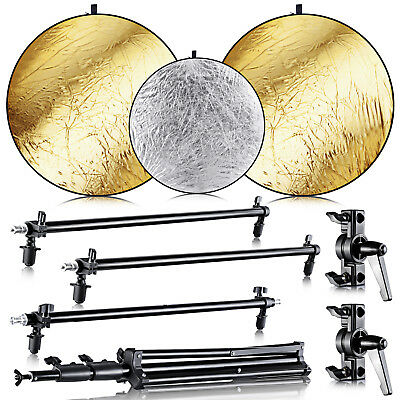 Neewer Studio Three Collapsible Gold/Silver Panel Reflector Kit with Light Stand