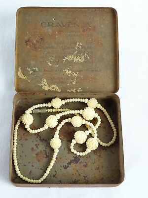 Vintage Chinese Hand Carved Womens Necklace Puzzle Ball Rose Beads China