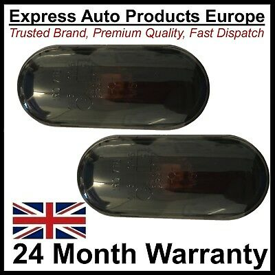 Smoked Black Oval Side Repeater Indicator Set Pair VW SEAT Ford