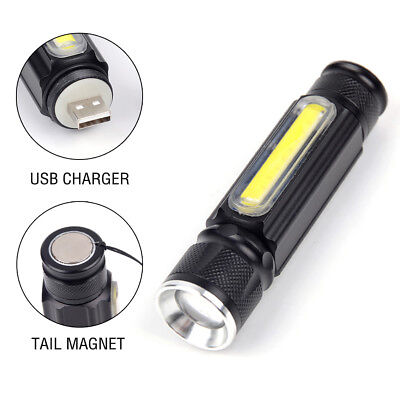 Portable Zoomable 3800LM 4 Modes T6 COB LED USB Rechargeable Flashlight Torch