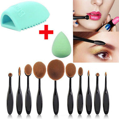 10Pcs Professional Makeup Brushes Set Oval Cream Puff Toothbrush Brush Black NEW