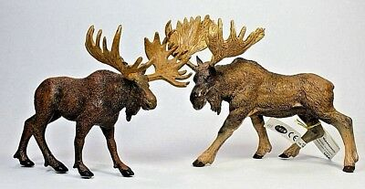 """LOT OF 4 2008 PAPO & Safari MOOSE and """"AAA"""" DEER Rubber Toy Figures"""