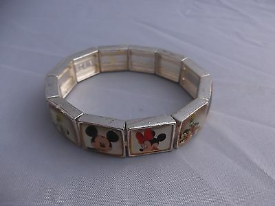 (136) Vintage Official Disney Stretch Bracelet  Mickey Minnie Donald Pluto Goofy