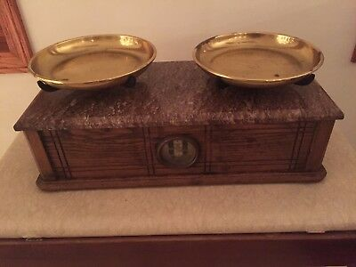 Antique Henry Troemner Apothecary No.195 Balance Scale with Granite Top Oak Base