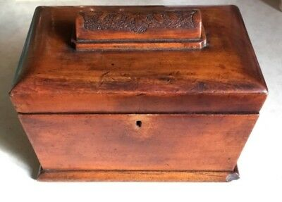 Victorian Wooden Tea Caddy Storage Box + Carving. Antique / Restoration Project