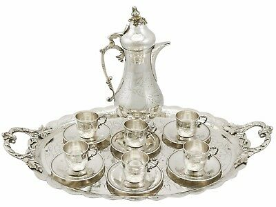Antique Turkish Silver Coffee Service with Tray 1900s