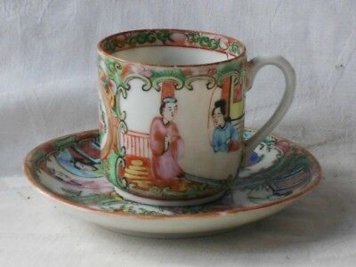 C19Th Chinese Famille Rose Canton Cup And Saucer Decorated With People Flowers