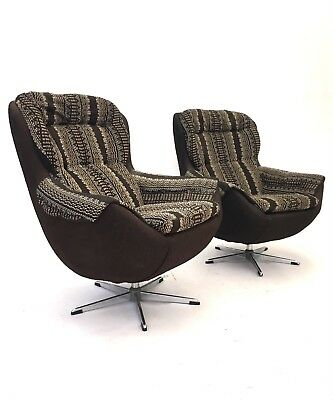 Pair of Vintage Retro Mid Century Egg Chairs Danish Swivel Modernist Armchairs