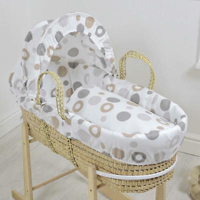 New 4Baby Grey Bubbles Natural Palm Deluxe Baby Moses Basket & Mattress