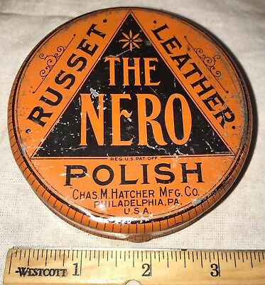 Antique The Nero Shoe Polish Tin Litho Cleaner Can Philadelphia Pa Country Store