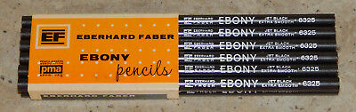 Vintage Dozen NOS 12 Eberhard Faber EF Ebony Jet Black Pencils Extra Smooth 6325