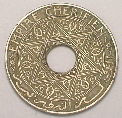 1921 Morocco Moroccan 25 Centimes Pentacle Coin F+ Bent