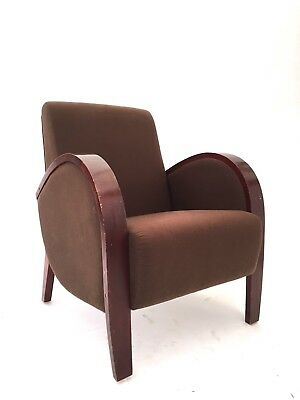 Pair of Art Deco Mid Century Style Club Chairs Bentwood Halabala Style Armchairs