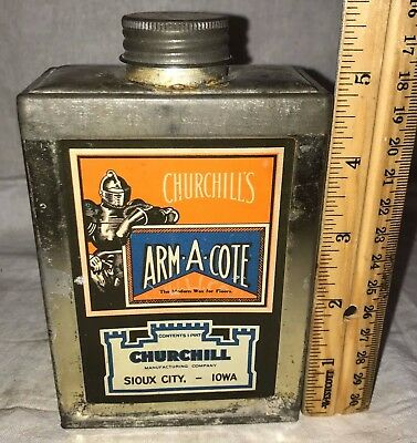 Antique Arm-A-Cote Polish Wax Mop Sioux City Ia Tin Litho Can Medieval Knight