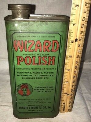 Antique Wizard Polish Floor Mop Cleaner Wax Soap Cleanser Tin Litho Can Chicago
