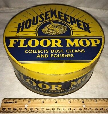 Antique Housekeeper Floor Mop Tin Litho Can Duster Cleaner Polish Vintage Wax