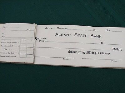 Silver King Mining Co. Albany Oregon orig 1910s company check book