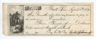 Fall River Savings Bank, MA $5000 Check Dated April 8th, 1862 with raised seal