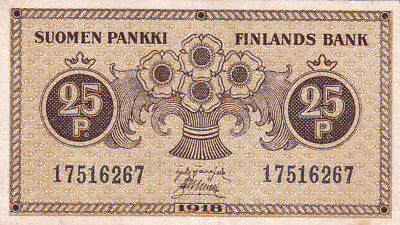 25 Penni Vf Crispy Banknote From Finland 1918!pick-33