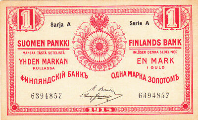 1 Markan Very  Fine Banknote From Russian  Finland 1915!pick-16
