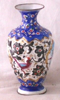 C19Th Hand Painted Persian Enamel Relief Moulded Vase With Picture Scenes