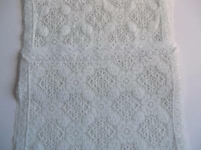8 Vintage White Terylene Lace Edged Embroidered Table Mats, Crocheted Openwork