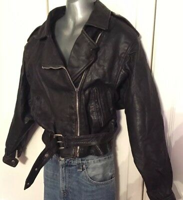 Real Leather Ladies Biker Style Cropped Jacket, Black. 1950's Style.