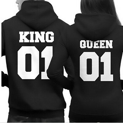 Couple King and Queen Love Matching Hoody Hooded Hoodie Casual T-Shirt Tee Tops