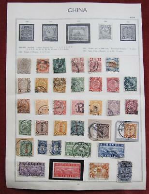 China - Old Album Page with 35 mint and used stamps