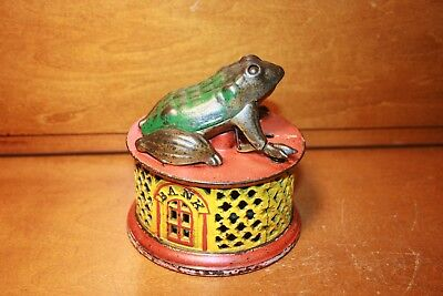 Antique Cast Iron Frog on Round Base Mechanical Bank by J & E Stevens. cir. 1872
