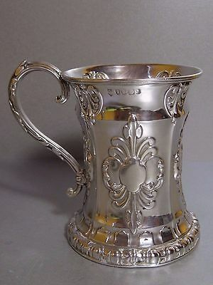 Antique Victorian Gothic Revival 1862 Sterling Silver Christening Large Mug Cup