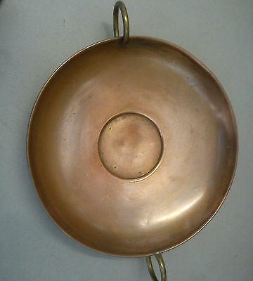 Original Quaint Copper Large Footed Copper Bowl/dish With Brass Handles. £9.99