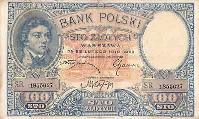 100 Zlotych Fine Banknote From Poland 1919!pick-57