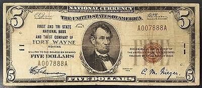 1929 $5.00 Nat'l Currency, First and Tri State Nat'l Bank & Trust, Fort Wayne!