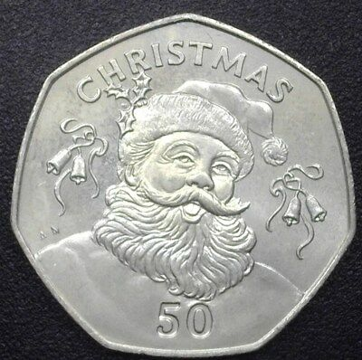 Gibraltar 1992-Aa 50 Pence -Bust Of Santa- Gem+ Uncirculated Km#108