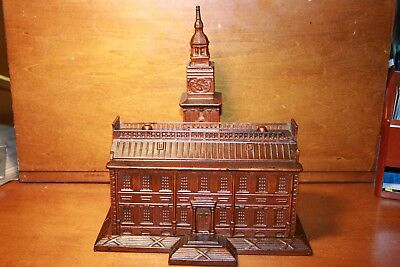 Large Antique Cast Iron Independence Hall Bank Toy by Enterprise c.1875 Nice !