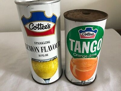 Vintage Cottees Soft Drink Cans Tango And Lemon 13 Oz And 16 Oz