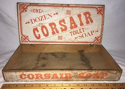 Antique Corsair Toilet Soap Wood Country Store Display Box Vintage Cleaner Old