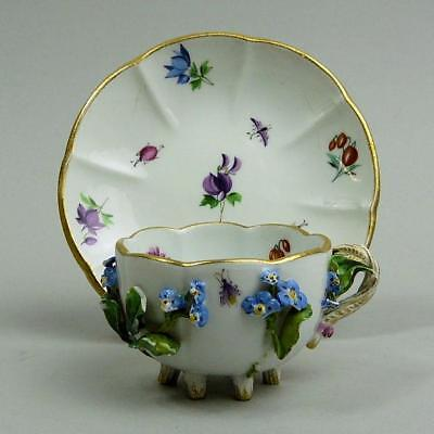 ANTIQUE MEISSEN FLORAL ENCRUSTED PORCELAIN CABINET CUP & SAUCER 19th CENTURY