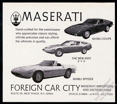 1970 Maserati Ghibli Spyder Coupe Indy 3 car photo vintage print ad