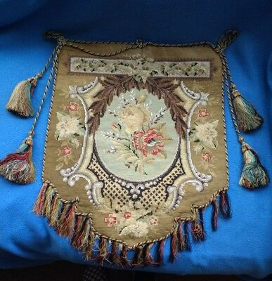 Victorian Tapestry/Beaded Wall Hanging