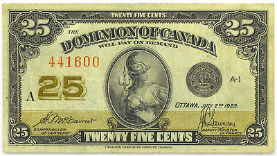 Dominion of Canada 1923 25 Cents Shinplaster McCavour-Saunders No Authorized VF