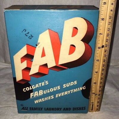 Antique Unopened Fab Laundry Soap Dish Detergent Box Vintage Clothes Cleaner Old