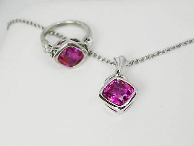 925 Sterling Silver & Created Pink Sapphire Ring & Necklace Set, Ring Size 7