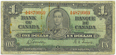 Bank of Canada 1937 $1 One Dollar Gordon-Towers A/M Prefix VG+ King George VI